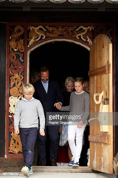 Prince Sverre Magnus of Norway Crown Prince Haakon of Norway Crown Princess MetteMarit of Norway and Princess Ingrid Alexandra of Norway Attend The...