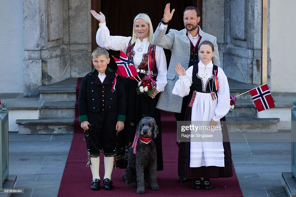 Prince Sverre Magnus of Norway, Crown Princess Mette-Marit of Norway, Princess Ingrid Alexandra of Norway and Crown Prince Haakon of Norway celebrate National Day on May 17, 2016 in Asker, Norway.