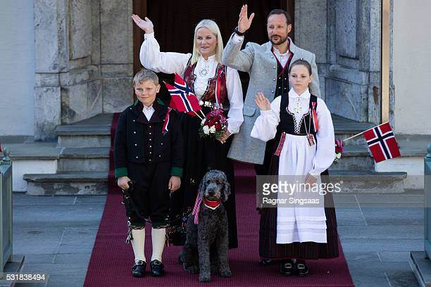 Prince Sverre Magnus of Norway Crown Princess MetteMarit of Norway Princess Ingrid Alexandra of Norway and Crown Prince Haakon of Norway celebrate...