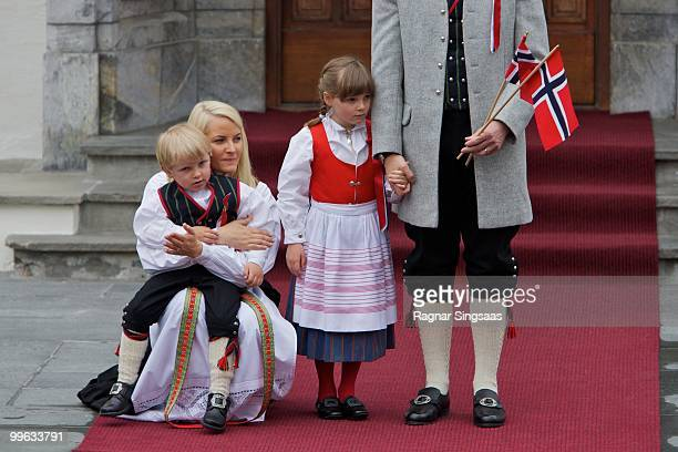 Prince Sverre Magnus of Norway, Crown Princess Mette-Marit of Norway and Princess Ingrid Alexandra of Norway attend The Children's Parade on Norway's...