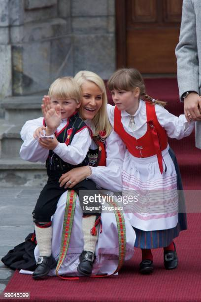 Prince Sverre Magnus of Norway Crown Princess MetteMarit of Norway and Princess Ingrid Alexandra of Norway attend The Children's Parade on May 17...