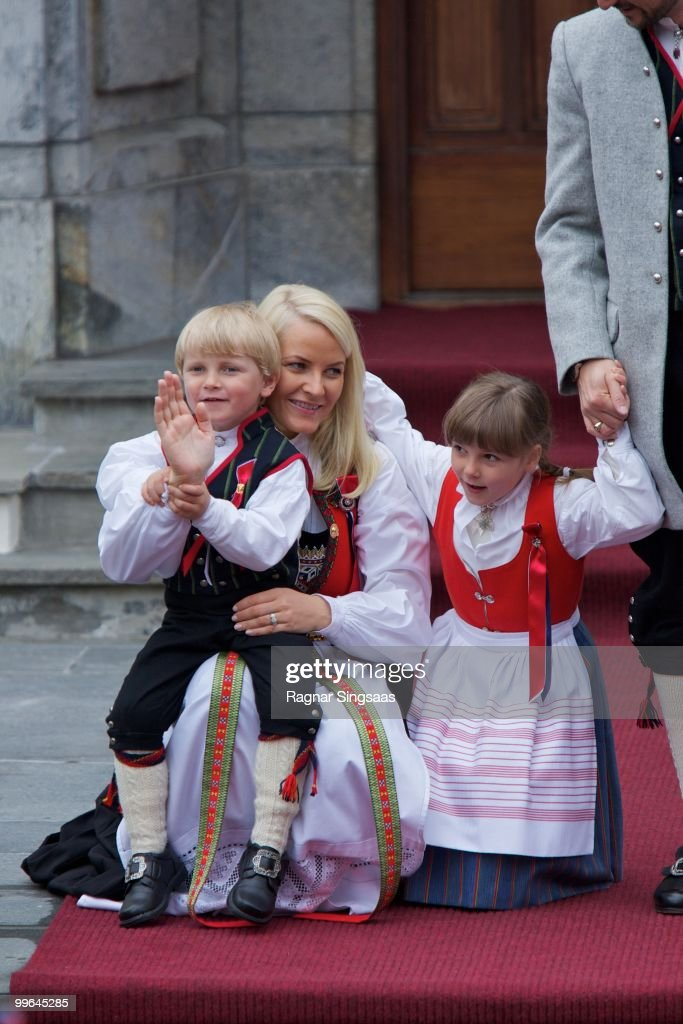 Prince Sverre Magnus of Norway, Crown Princess Mette-Marit of Norway and Princess Ingrid Alexandra of Norway attend The Children's Parade on May 17, 2010 in Asker, Norway.