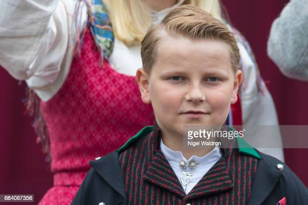 Prince Sverre Magnus of Norway greets the children in the parade at their home Skaugum on Norway's National Day on May 17 2017 in Asker Norway