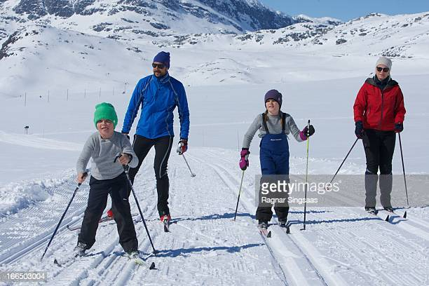 Prince Sverre Magnus of Norway Prince Haakon of Norway Princess Ingrid Alexandra of Norway and Princess MetteMarit of Norway attend a photocall after...