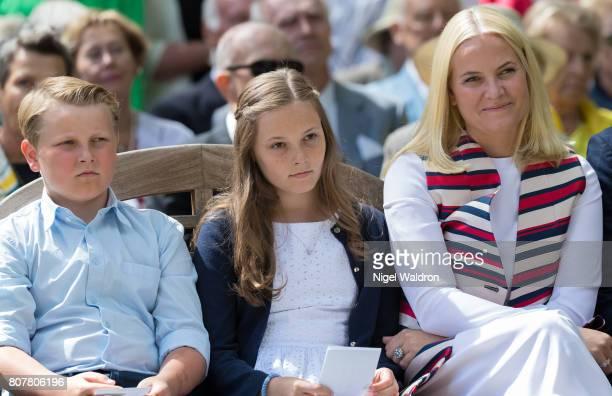 Prince Sverre Magnus of Norway Princess Ingrid Alexandra of Norway and Princess Mette Marit of Norway attend the unveiling of Norwegian Trekking...