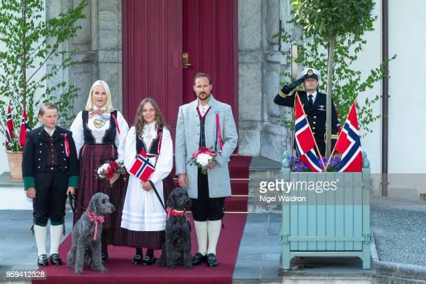 Prince Sverre Magnus of Norway Princess Mette Marit of Norway and Princess Ingrid Alexandra of Norway and Crown Prince Haakon of Norway wearing their...