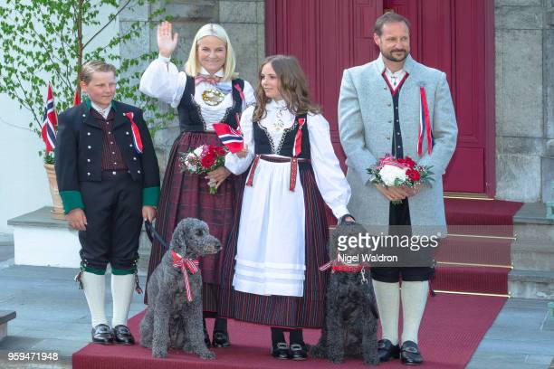 Prince Sverre Magnus of Norway Princess Mette Marit of Norway and Princess Ingrid Alexandra of Norway Prince Haakon Magnus of Norway outside their...