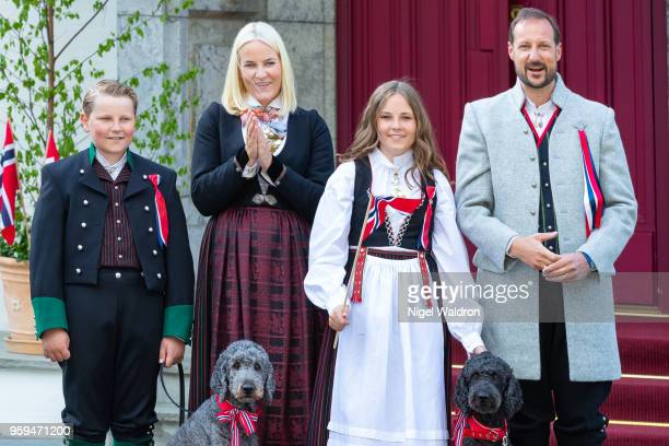 Prince Sverre Magnus of Norway Princess Mette Marit of Norway Princess Ingrid Alexandra of Norway and Prince Haakon Magnus of Norway wearing their...