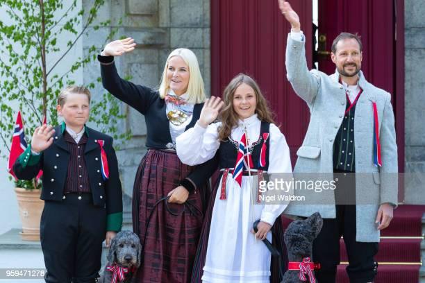 Prince Sverre Magnus of Norway Princess Mette Marit of Norway Princess Ingrid Alexandra of Norway and Prince Haakon Magnus of Norway wearing their...