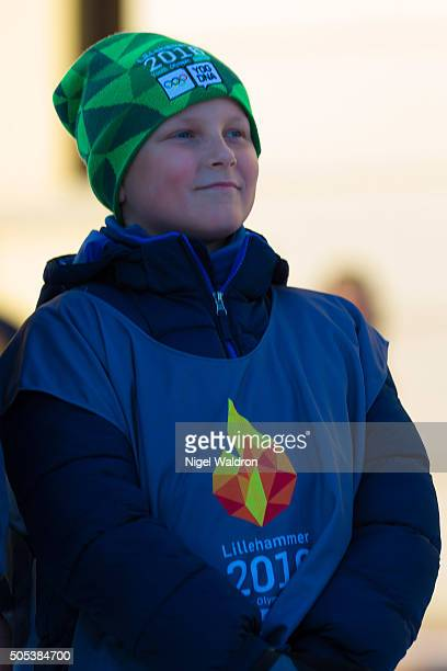 Prince Sverre Magnus of Norway watches the winter activities taking place in the Palace Square during the celebration of their 25th anniversary as...