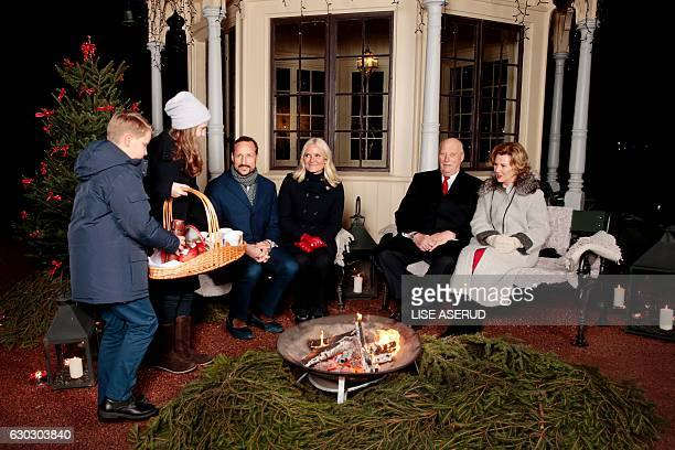 Prince Sverre Magnus Princess Ingrid Alexandra Crown Prince Haakon Crown Princess MetteMarit King Harald and Queen Sonja of Norway gathers for a...