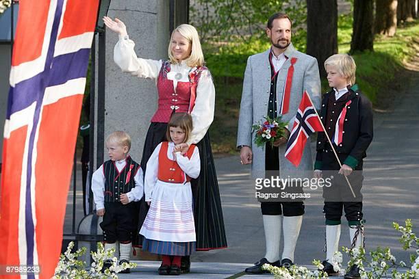 Prince Sverre Magnus, Princess Mette-Marit, Princess Ingrid Alexandra, Prince Haakon Magnus and Master Marius Borg Hoiby celebrate Norway's national...