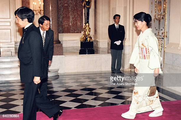 Prince Takamado and Princess Hisako of Takamado are seen on arrival prior to a return reception by Grand Duke Jean and Grand Duchess Josephine...