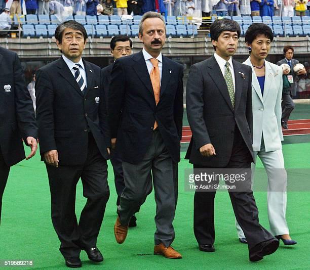 Prince Takamado and Princess Hisako of Takamado are seen prior to the FIFA World Cup Korea/Japan round of 16 match between Japan and Turkey at Miyagi...