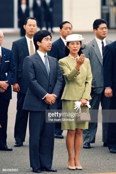 Prince Takamado and Princess Hisako of Takamado see off Emperor Akihito and Empress Michiko departing for France and Spain at Haneda International...