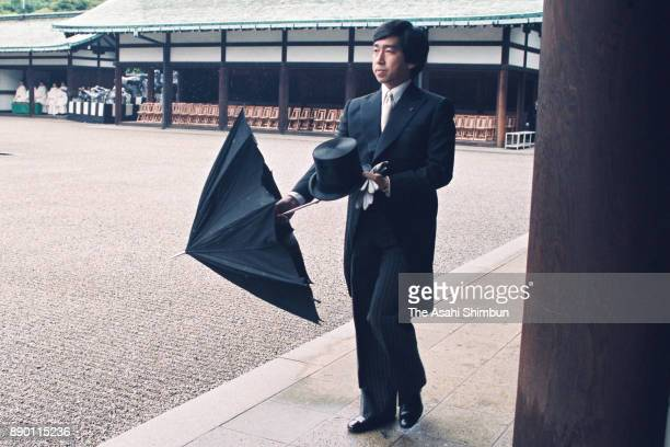 Prince Takamado is seen prior to the royal wedding at the Imperial Palace on June 9 1993 in Tokyo Japan