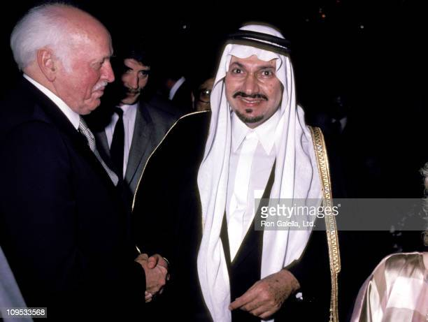 Prince Talal of Saudi Arabia and guest during Prince Talal Party March 23 1983 at Le Bistro in Beverly Hills California United States