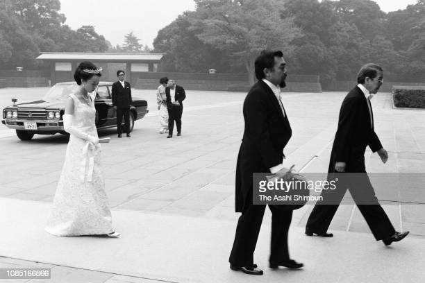 Prince Tomohito of Mikasa and Princess Nobuko of Mikasa are seen on arrival prior to the ChokennoGi meeting with emperor after their KekkonnoGi...