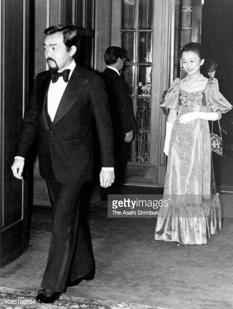 Prince Tomohito of Mikasa and Princess Nobuko of Mikasa are seen on arrival at their wedding party on November 8, 1980 in Tokyo, Japan.