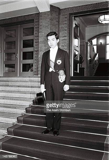 Prince Tomohito of Mikasa poses for photographs after his coming of age ceremony at the Imperial Household Agency building on January 5, 1966 in...