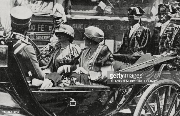 Prince Umberto of Savoy Spanish Queen Victoria and Queen Elena of Italy in a carriage in Madrid Italian royal visit to Spain from L'Illustrazione...