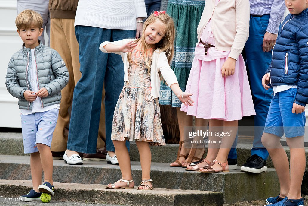 Prince Vincent of Denmark and Princess Josephine of Denmark attend the annual summer photo call for The Danish Royal Family at Grasten Castle on July 25, 2015 in Grasten, Denmark