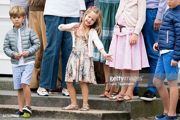Prince Vincent of Denmark and Princess Josephine of Denmark attend the annual summer photo call for The Danish Royal Family at Grasten Castle on July...