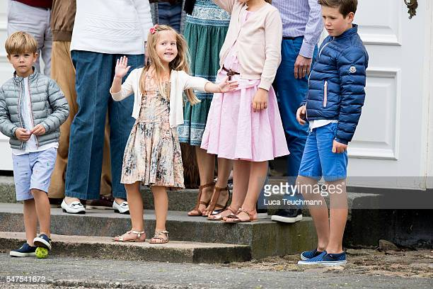 Prince Vincent of Denmark, Princess Josephine of Denmark and Prince Christian of Denmark are seen on the annual summer photo call for The Danish...