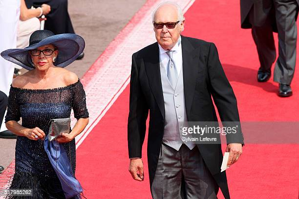 Prince Vittorio Emanuele Duke of Savoia and his wife Marina Doria attend the religious ceremony of the Royal Wedding of Prince Albert II of Monaco to...