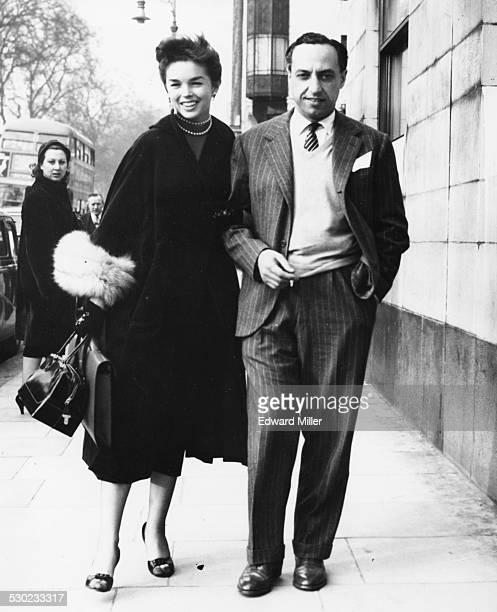 Prince Vittorio Massimo and his finacee Dawn Addams walking along a London street January 25th 1954