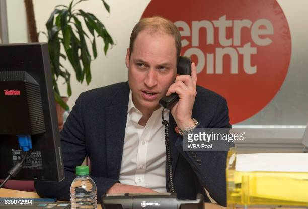 Prince Willaim Duke of Cambridge officially launched the Centrepoint Helpline in London on February 13 2017 in London England This is the first ever...