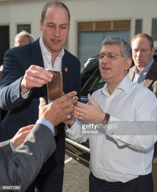 Prince Willaim Duke of Cambridge poses with Sonny Joannou as he officially launched the Centrepoint Helpline in London on February 13 2017 in London...