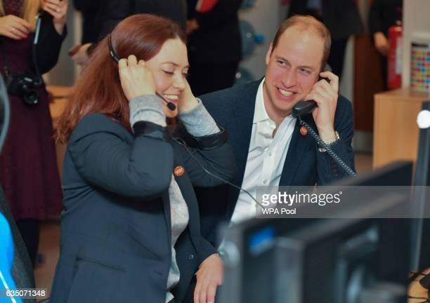 Prince Willaim Duke of Cambridge speaks with Councillor Carys Lewis as he officially launched the Centrepoint Helpline in London on February 13 2017...