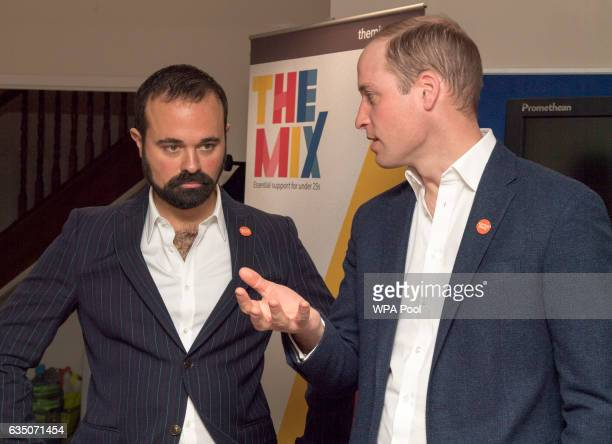Prince Willaim Duke of Cambridge speaks with Evgeny Lebedev as he officially launched the Centrepoint Helpline in London on February 13 2017 in...