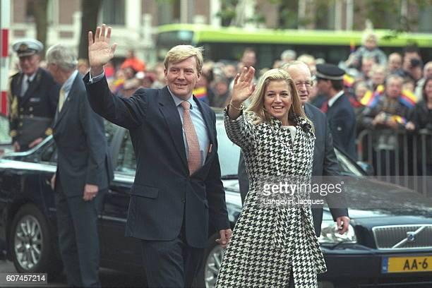 Prince Willem Alexander and his fiancee Maxima Zorreguieta arrive in front of Haarlem prefecture