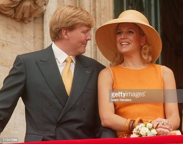 Prince Willem Alexander and Princess Maxima pose at the Brussels Townhall as part of the three-day during visit of Queen Beatrix on June 20, 2006 in...