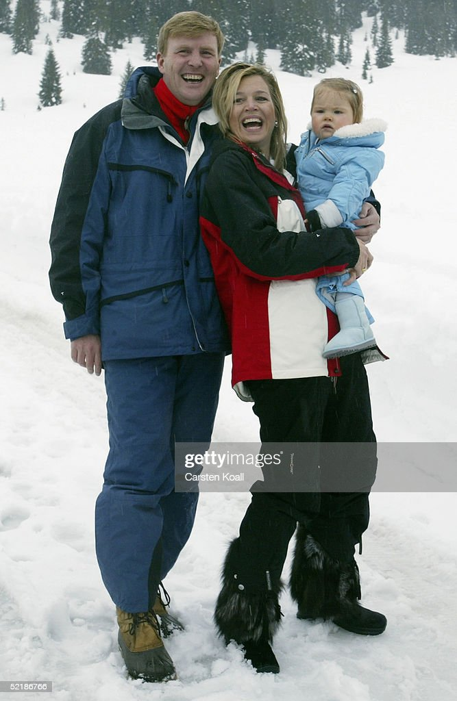 Prince Willem Alexander and Princess Maxima with their daughter Princess Almalia of the Dutch Royal Family pose at a photocall during their winter holiday at Lech on June 5, 2005 in Lech, Austria.