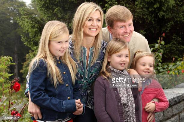 Prince Willem Alexander of Netherlands and Princess Maxima of Netherlands pose with their daughters Princess CatharinaAmalia of Netherlands Princess...