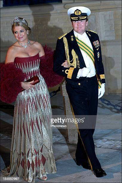 Prince Willem Alexander of Orange and Princess Maxima of the Netherlands arrive at the Gala Dinner for the wedding of Prince Guillaume Of Luxembourg...