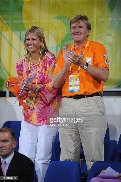 Prince Willem Alexander of The Netherlands and his wife Princess Maxima watch the Dressage Individual competition of the 2008 Beijing Olympic Games...