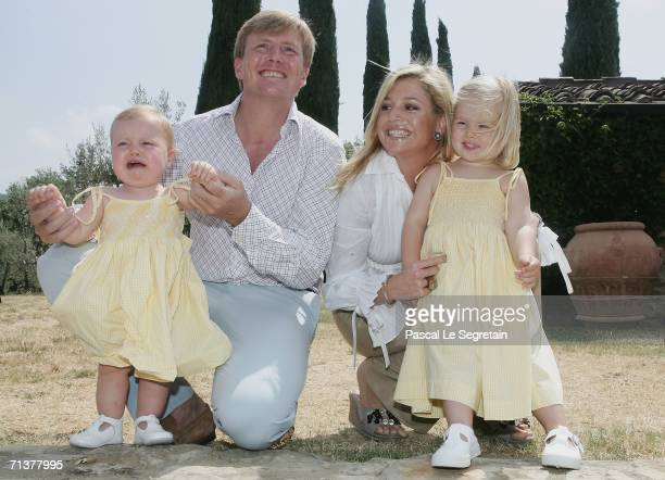 Prince Willem Alexander of the Netherlands Princess Alexia Crown Princess Maxima of the Netherland and Princess Amalia pose during a photocall in...