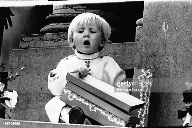 Prince Willem Alexander playing during parade for his grandmother Queen Juliana's birthday on April 30 1969 in Netherlands