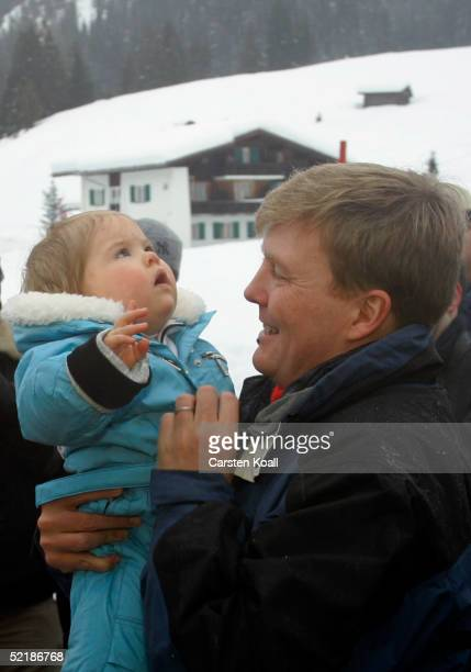 Prince Willem Alexander with his daughter Princess Almalia of the Dutch Royal Family pose at a photocall during their winter holiday at Lech on June...