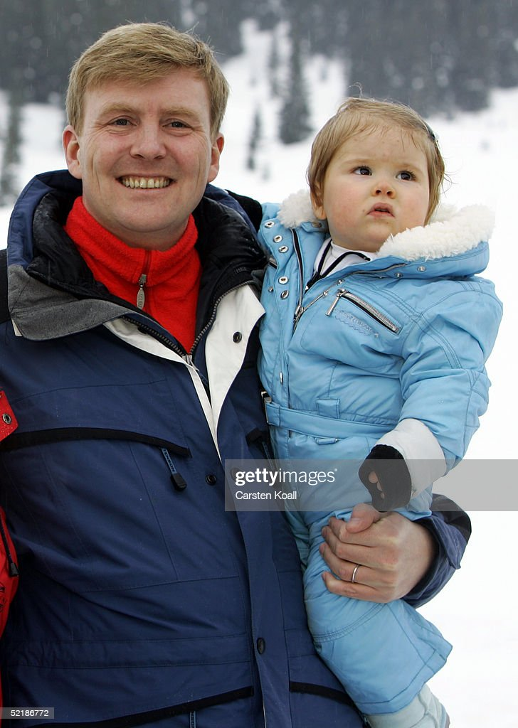 Prince Willem Alexander with his daughter Princess Almalia of the Dutch Royal Family pose at a photocall during their winter holiday at Lech on June 5, 2005 in Lech, Austria.