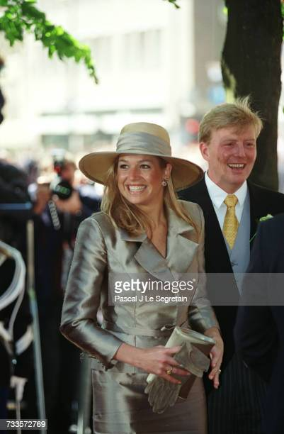 Prince Willem Alexander with his fiancee Maxima Zorreguieta attending the Royal Wedding of Prince Costantijn and Laurentien Brinkhorst