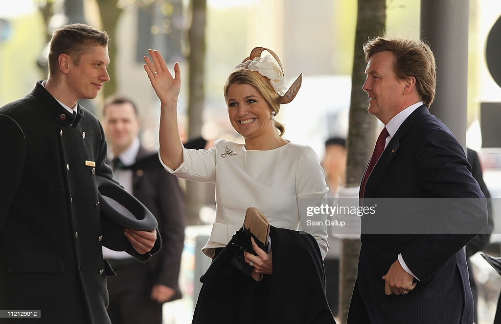 Prince Willem-Alexander (R) and Princess Maxima of the Netherlands arrive at the Adlon Hotel on April 12, 2011 in Berlin, Germany. The Dutch royals, including Queen Beatrix, Prince Willem-Alexander and Princess Maxima, are on a four-day visit to Germany that includes stops in Berlin, Dresden and Duesseldorf.