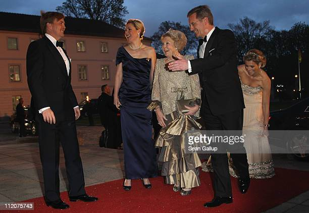 Prince WillemAlexander of the Netherlands German First Lady Bettina Wulff Queen Beatrix of the Netherlands German President Christian Wulff and...