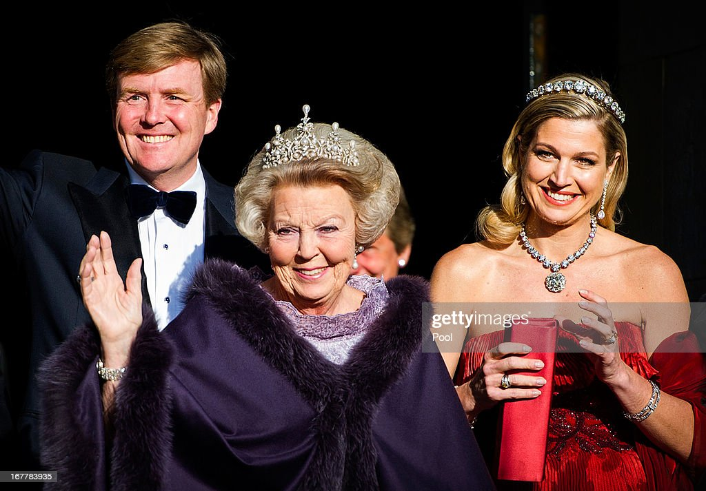 Royals Depart Royal Palace To Attend A Dinner Hosted By Queen Beatrix Of The Netherlands Ahead Of Her Abdication : News Photo