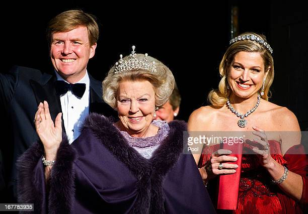 Prince WillemAlexander of the Netherlands Queen Beatrix Of The Netherlands and Princess Maxima of the Netherlands leave The Royal Palace in Amsterdam...