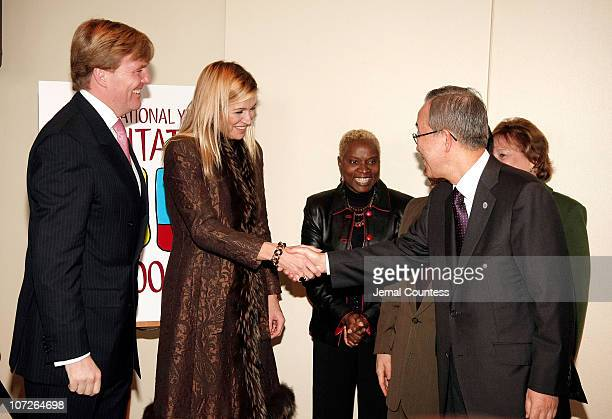 Prince Willem-Alexander, Prince of Orange and Princess Maxima of the Netherlands are greeted by United Nations Secretary General Ban Ki-moon at the...